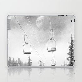 Ski Lift Moon Break // Riding the Mountain at Copper Colorado Luna Sky Peeking Foggy Clouds Laptop & iPad Skin