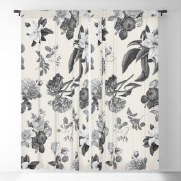 Vintage flowers on cream blackground Blackout Curtain