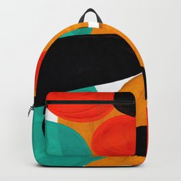 Mid Century Modern Abstract Minimalist Retro Vintage Style Rolie Polie Olie Bubbles Teal Orange Backpack
