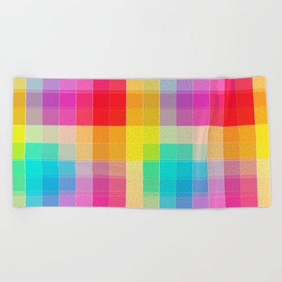 Rainbow grid Beach Towel