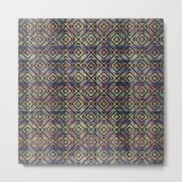 Multicolored Ethnic Check Seamless Pattern Metal Print
