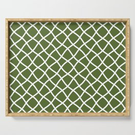 Olive green and white curved grid pattern Serving Tray