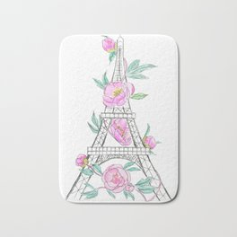 Eiffel tower and peonies Bath Mat