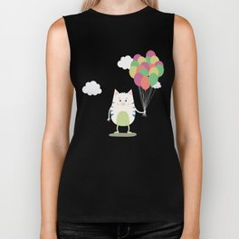 Cute Cat with balloons T-Shirt for all Ages Biker Tank