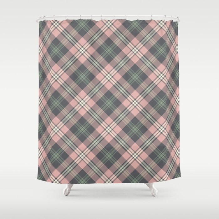 Pink And Gray Plaid Pattern Shower Curtain
