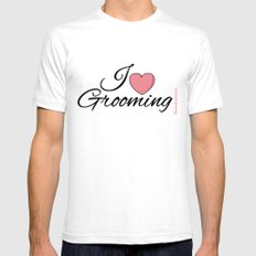 I Love Grooming SMALL Mens Fitted Tee White