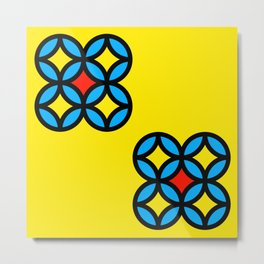 Colored Circles on Yellow Board Metal Print