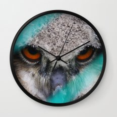 eyes of fire, young bird of prey portrait Wall Clock