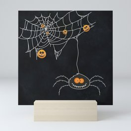 Halloween Spider on Web Mini Art Print