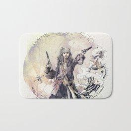 Jack Sparrow with double pistols Bath Mat