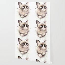 Grumpy Watercolor Cat Animals Meme Geek Art Wallpaper