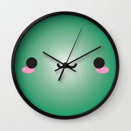 Kawaii Face (Green) Wall Clock