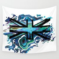 union jack Wall Tapestries featuring Union Jack by Boz Designs