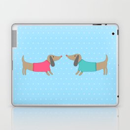 Cute dogs in love with dots in blue background Laptop & iPad Skin