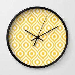 Yellow Ikat Ogee  Wall Clock