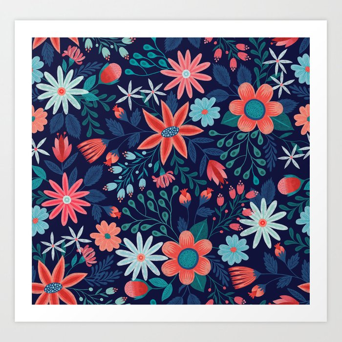 Navy & Coral Floral Pattern Art Print