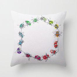 RAINBOW BEES Throw Pillow