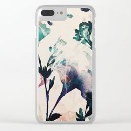 Watercolor Flowers on canvas Clear iPhone Case