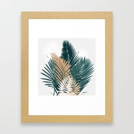 Gold and Green Palm Leaves Framed Art Print
