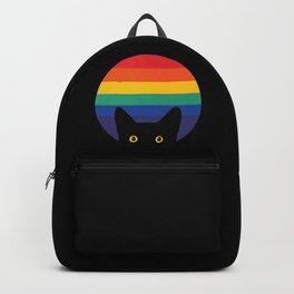 Peeking Cat In Rainbow Circle Backpack