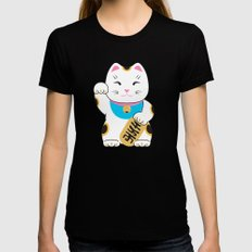 Maneki-neko good luck cat pattern Womens Fitted Tee Black MEDIUM