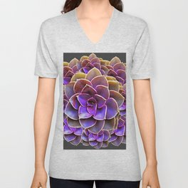 PURPLE-CREAM SUCCULENT ROSETTES Unisex V-Neck