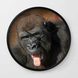 Gorilla Lope Showing His Tongue Wall Clock