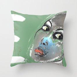 Lady Green Throw Pillow