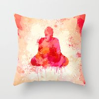 buddhism Throw Pillows featuring Red Buddha Watercolor art by Thubakabra