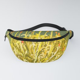 Pincushion Flower Yellow on Green Fanny Pack