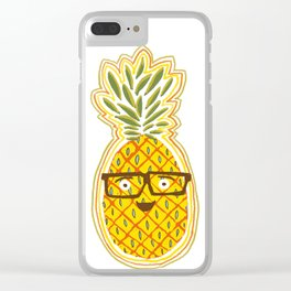 Funny Pineapple Face Clear iPhone Case