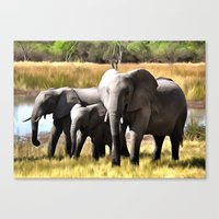 elephants Canvas Prints featuring Elephants by Regan's World