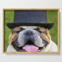 Silly Bulldog In Top Hat Serving Tray