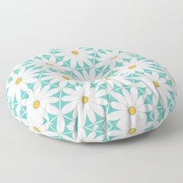 Daisy Hex - Turquoise Floor Pillow