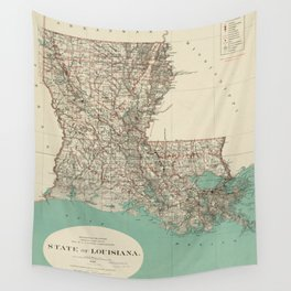 Vintage Map of Louisiana (1887) Wall Tapestry