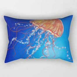 Jellyfish, Oil painting by Faye Rectangular Pillow