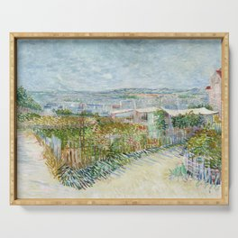 Vegetable Gardens at Montmartre by Vincent van Gogh Serving Tray