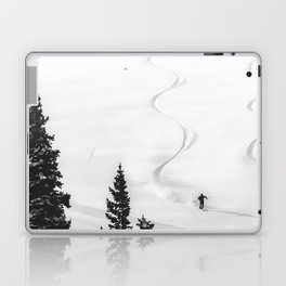 Backcountry Skier // Fresh Powder Snow Mountain Ski Landscape Black and White Photography Vibes Laptop & iPad Skin
