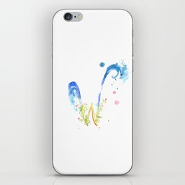 Letter W watercolor - Watercolor Monogram - Watercolor typography - Floral lettering iPhone Skin