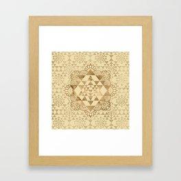 Sri Yantra  / Sri Chakra Pastel Gold Framed Art Print