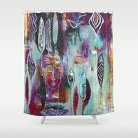 "flora bowley Shower Curtains featuring ""Muse Dance"" Original Painting by Flora Bowley by Flora Bowley"