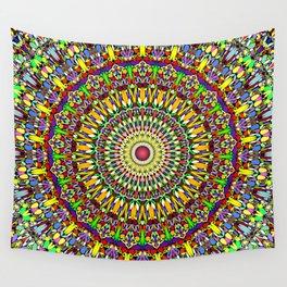 Happy Colorful Jungle Garden Mandala Wall Tapestry