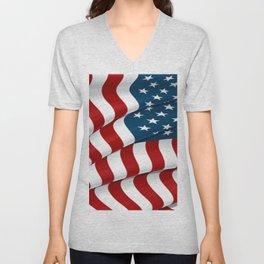 WAVY AMERICAN FLAG JULY 4TH ART Unisex V-Neck