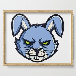 Bunny graffiti spray enraged brave tired exhausted circles Serving Tray