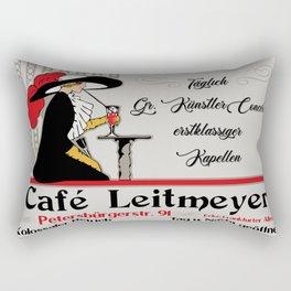 Café Leitmeyer, German retro style coffee shop advertising Rectangular Pillow