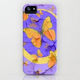 OLD YELLOW BUTTERFLIES &  LILAC WALLPAPER MODERN ART  f iPhone Case