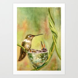 Hummingbird Mom with Chicks Art Print