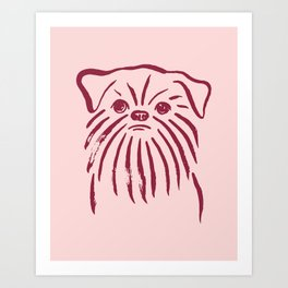 Brussels Griffon (Pink and Burgundy) Art Print