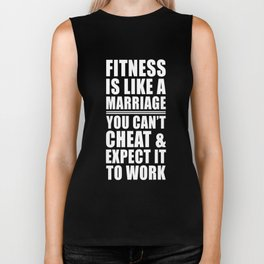 Fitness is Like Marriage Funny T-shirt Biker Tank