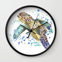 Sea Turtle Pura Vida Watercolor Wall Clock